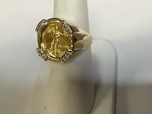 22 Kt 1 10oz Lady Liberty Coin In 14 Kt Yellow Gold Ring With 24 Tcw Diamonds Ebay