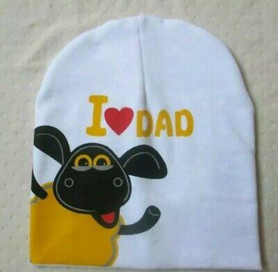 Cappello Bambini Misto Cotone Bianco Scritta I Love Dad (cm 19 X 20) Styling Aggiornato
