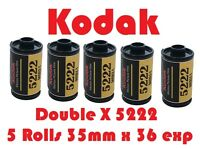 Kodak Eastman 5222 Double-x Five Pack Black & White 35mm X 36 Exposure Film