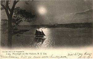 Vintage Postcard - 1906 Moonlight On The Hudson River New York NY #3593