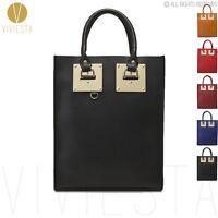 Genuine Leather Metal Plate Large Structured Tote Bag Women's Shoulder Handbag