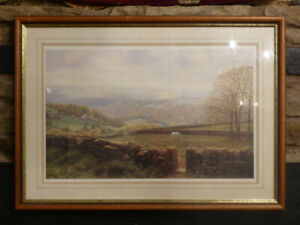 Art-Print-K-MELLING-English-Countryside-034-Heptonstall-amp-Stoodley-Pike-Yorkshire-034