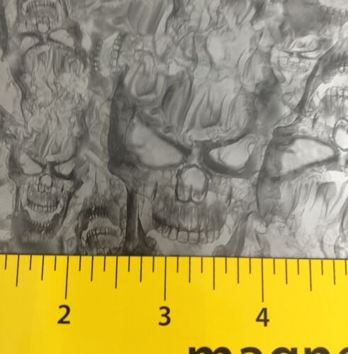 ICE SILVER SKULLS W// FLAMES HYDROGRAPHIC WATER TRANSFER HYDRO DIPPING DIP DEMON