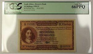 1950-51 10.4.51 South Africa 10 Shillings Note SCWPM# 91c PCGS Gem 66 PPQ *RARE*