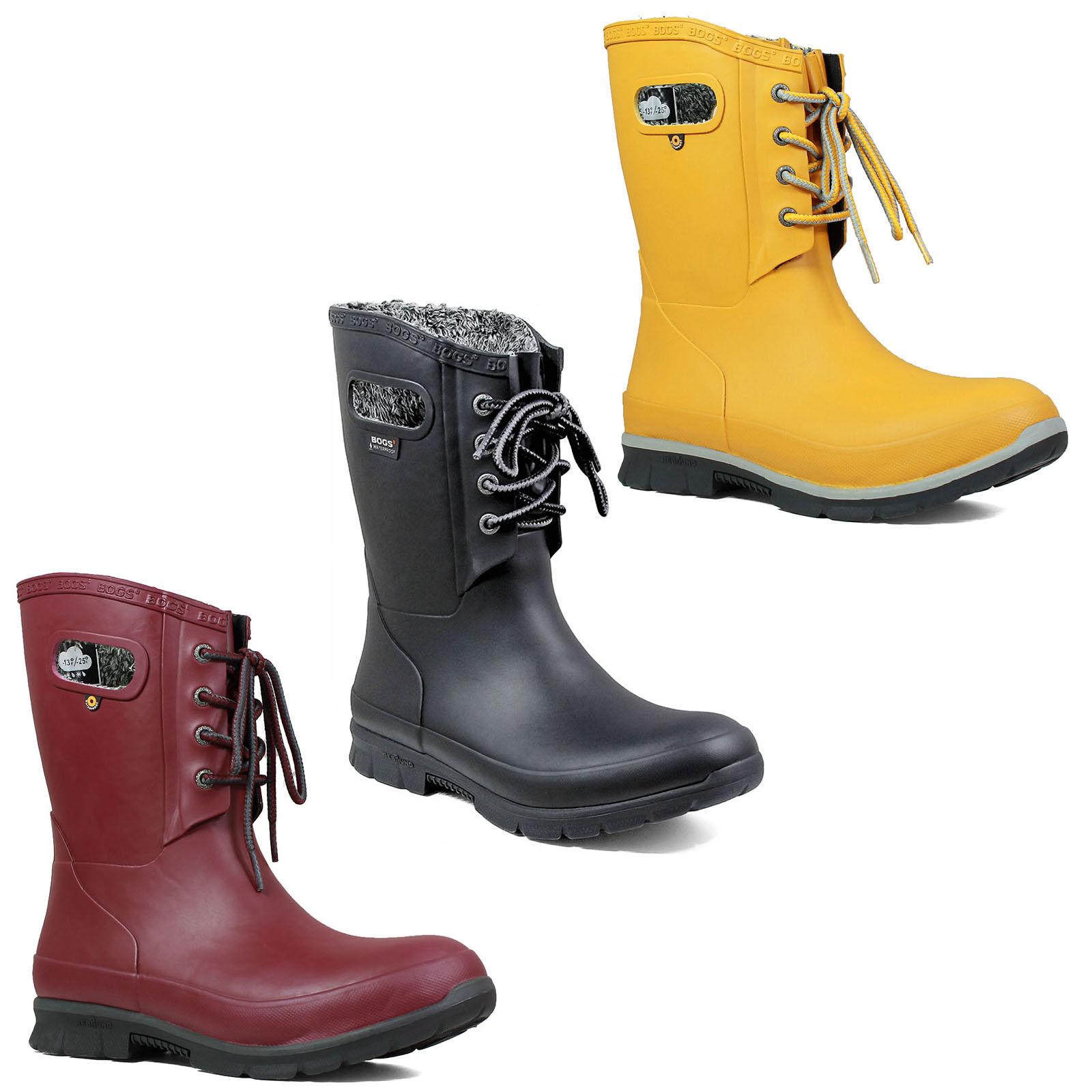 Bogs Plush Lined Wellington Boots 72103 Womens Amanda Laced Insulated Fashion