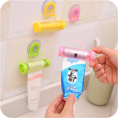 Colorful Plastic Rolling Tube Squeezer Toothpaste Dispenser Bathroom Hang Holder
