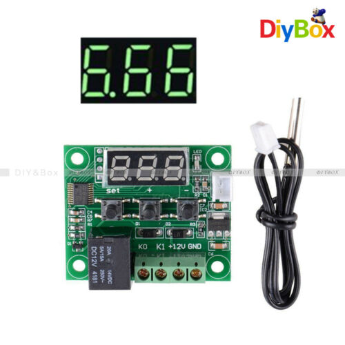 W1209 DC12V Digital Thermostat Temperature Control Switch Sensor+Case Green