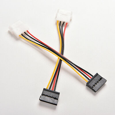 50pcs 4 pin IDE Molex to 2 Serial ATA SATA Power Cable connectors c02