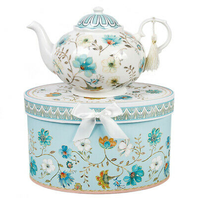 White Brewing Porcelain Teapot with Tulips Decal 33 Fl oz Made in Russia