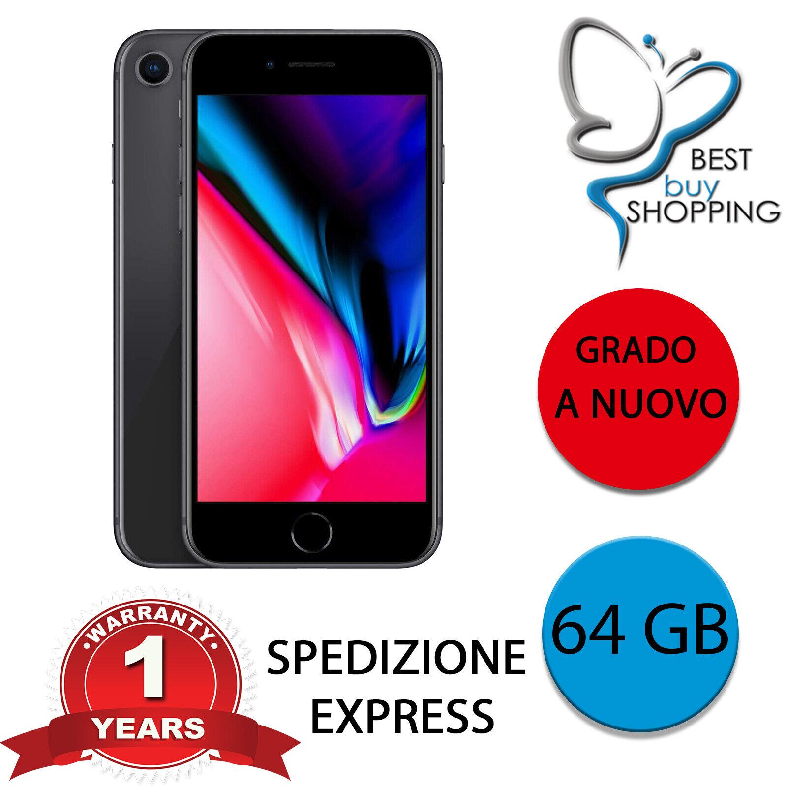 iPhone: IPHONE 8 RIGENERATO A NUOVO 64 GB NERO ORIGINALE APPLE + GARANZIA RICONDIZIONATO