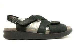 SAS-Black-Leather-Adjustable-Buckle-Comfort-Sandals-Shoes-Women-039-s-8-M