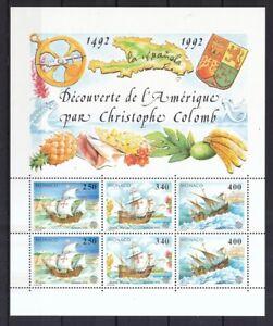 Monaco-1992-postfrisch-MiNr-Block-55-Europa-CEPT-Entdeckung-von-Amerika