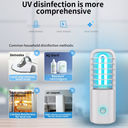 UV Sterilizer Light Germicidal UVC Lamp Car Bathroom Pet Portable Rechargeable
