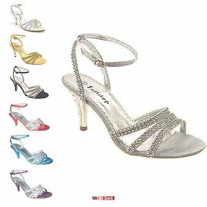 cf425e54da75 WOMEN'S PARTY PROM SIMULATED DIAMANTE WEDDING BRIDAL SANDALS SHOES ...