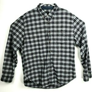 J-CREW-Mens-Elbow-Patch-Plaid-black-and-white-Long-Sleeve-Button-Shirt-Size-XL