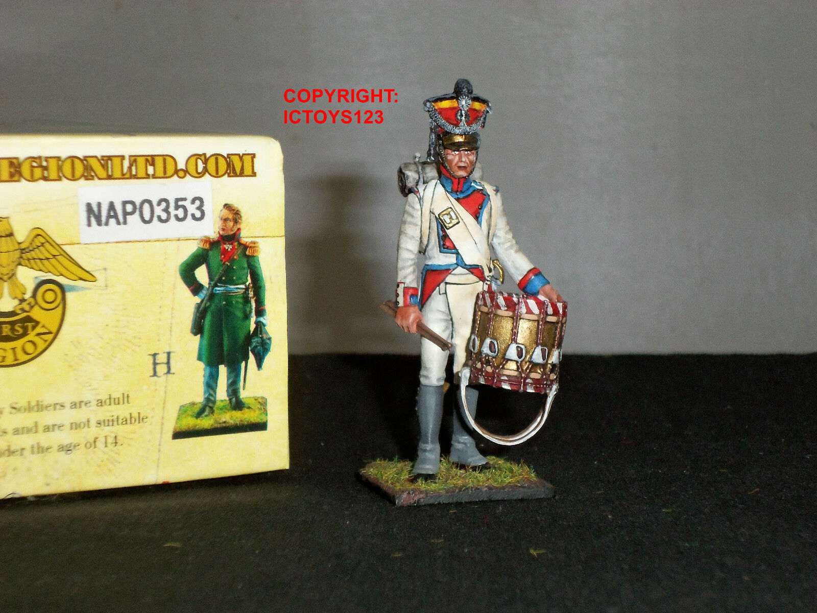 FIRST LEGION NAP0353 POLISH 1ST LINE INFANTRY DRUMMER METAL TOY SOLDIER FIGURE