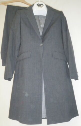Reed Hill Ladies Saddleseat Costume 2 pc Dk Gris PIN Mélange Laine S 8 made in USA