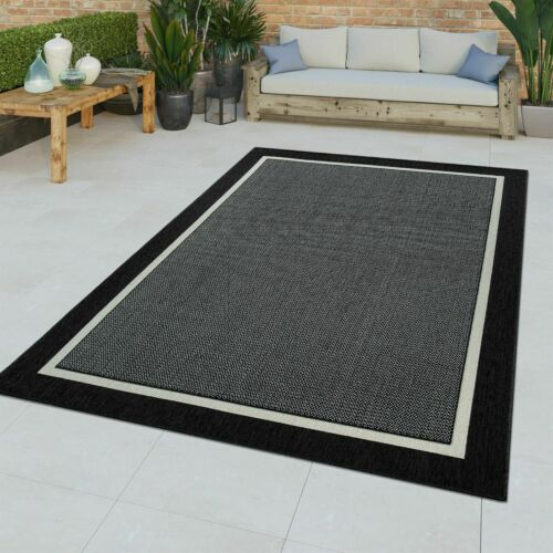 /& Outdoor Teppich 3D Effekt Bordüre Muster Natürlicher Look Schwarz Kurzflor In