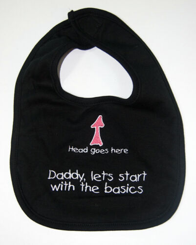 Personalised Baby Bib Embroidered Funny Daddy Fathers Day New Born Birthday Joke