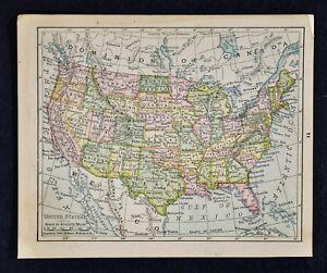1900 Mcnally Map United States Texas California New York Florida