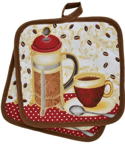 """7/"""" x 7/"""" brown 2 Printed Kitchen Pot Holders COFFEE CUP /& TEAPOT 100/% Cotton"""