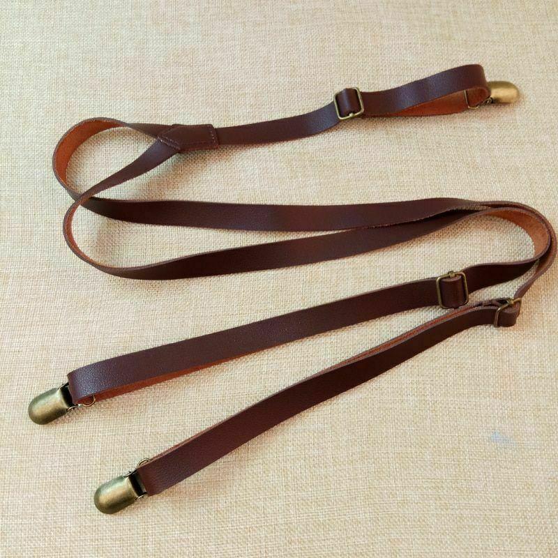 Vintage Leder Hosentrger Retro britische Hosengurte 3 Clips Mnner...
