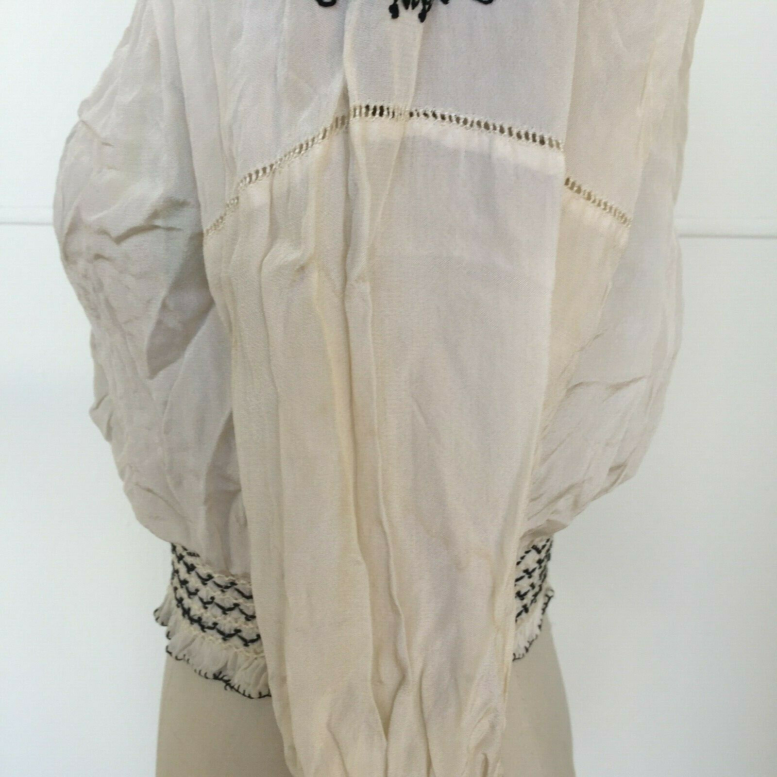 Vtg Hungarian Blouse S-M Embroidered Hand Made Fl… - image 8