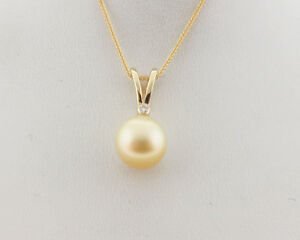 Golden south sea pearl 105mm diamond solid 14k yellow gold pendant image is loading golden south sea pearl 10 5mm diamond solid aloadofball Image collections