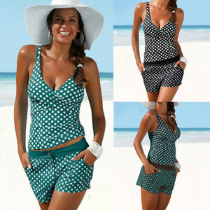 2tlg-Damen-Tankini-Set-Push-Up-Bikini-Oberteil-Bikinihose-Badeanzug-Schwimmanzug