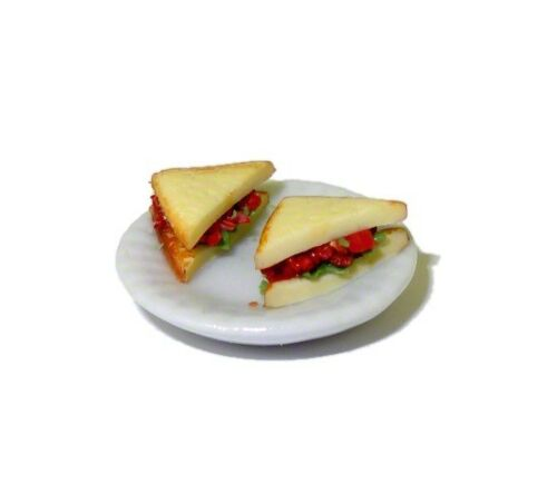 Dollhouse Bacon Lettuce and Tomato BLT Sandwich on Ceramic Plate Miniature Food