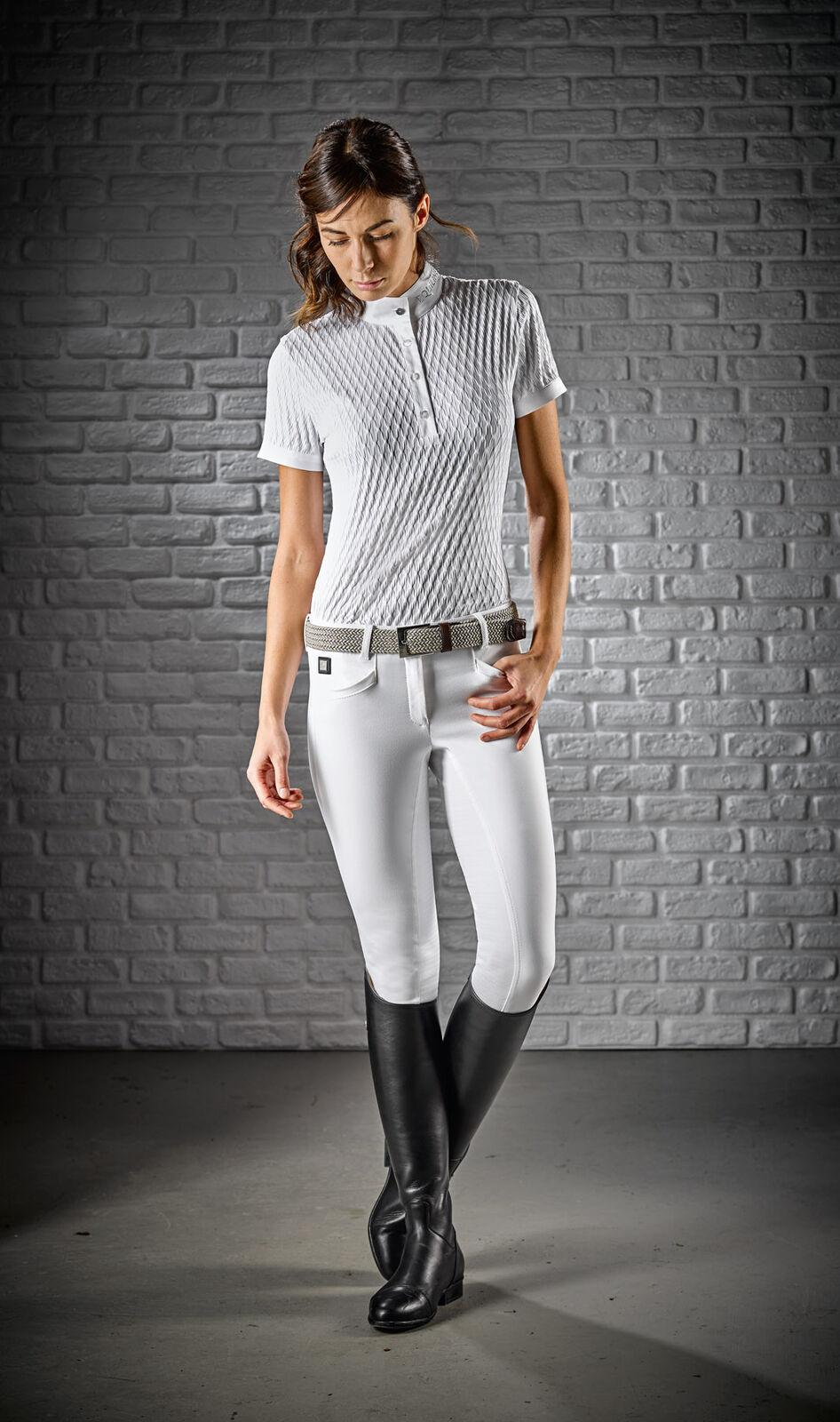 Equiline Damen Poloshirt Alissa weiss kurzarm mit mit mit Rautenmuster be5685