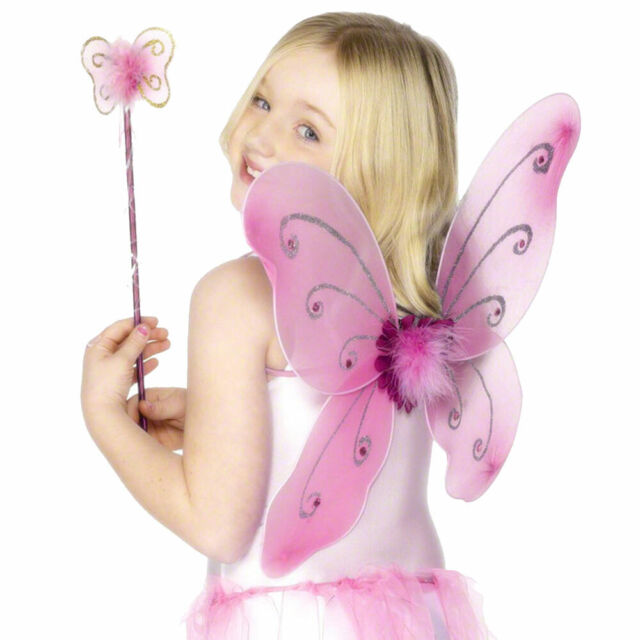 Pink Butterfly Wings with Wand