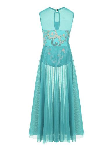 Kids Girls Lyrical Dance Leotard Dress Ballet Sequins Mesh Maxi Skirt Costume
