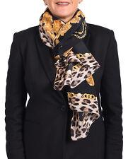 Roberto Cavalli Women's Silk Scarf Floral Gold Chain Leopard Skin Black Gold
