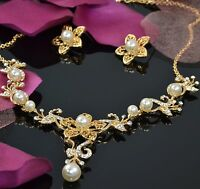 Pearl Gold Plated Flower Bridal Wedding Jewellery Set With Swarovski Crystals