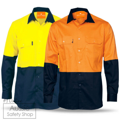 3 X HIGH VISIBILITY YELLOW ORANGE AIR MESH VENTED COTTON DRILL SAFETY WORK SHIRT
