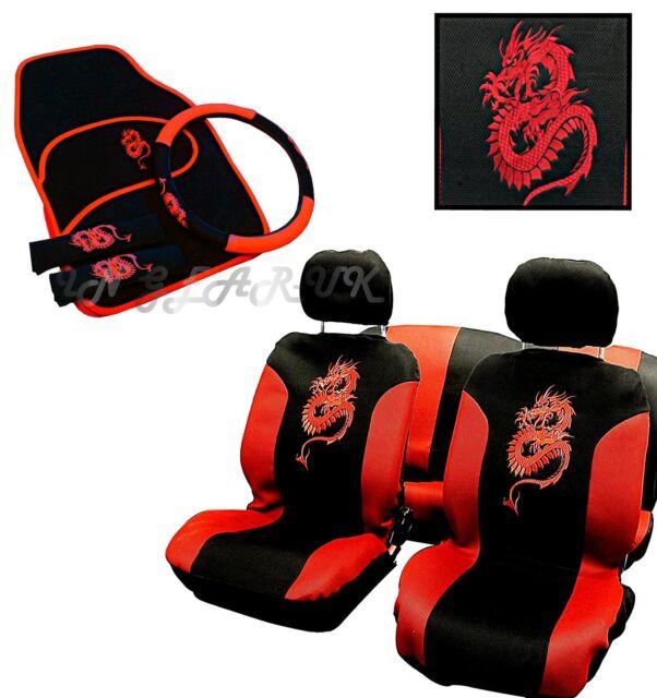 RED 13pc Car seat cover set Dragon carpet mat steering wheel Glove Belt pads NEW