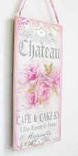Shabby Rose Chic Plaque Sign Floral Home Decor Wall Hanging Pink Cream Victorian
