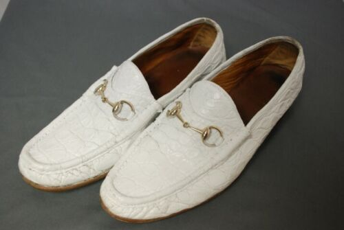 used GUCCI men's white Crocodile bit loafers shoes