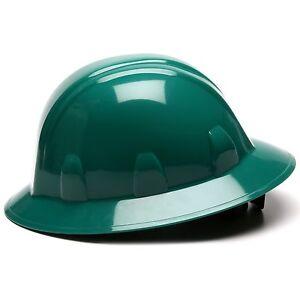 Pyramex Hard Hat Full Brim Dark Green with 6 Point Ratchet Suspension