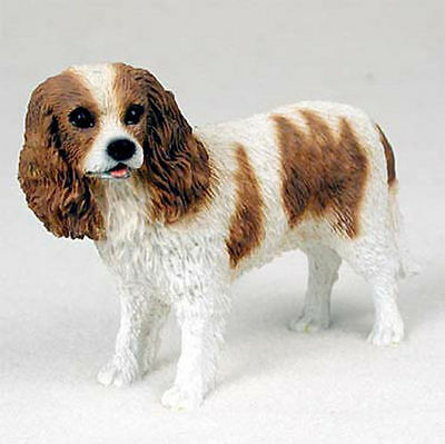 Cavalier King Charles Hand Painted Collectible Dog Figurine Brown & White