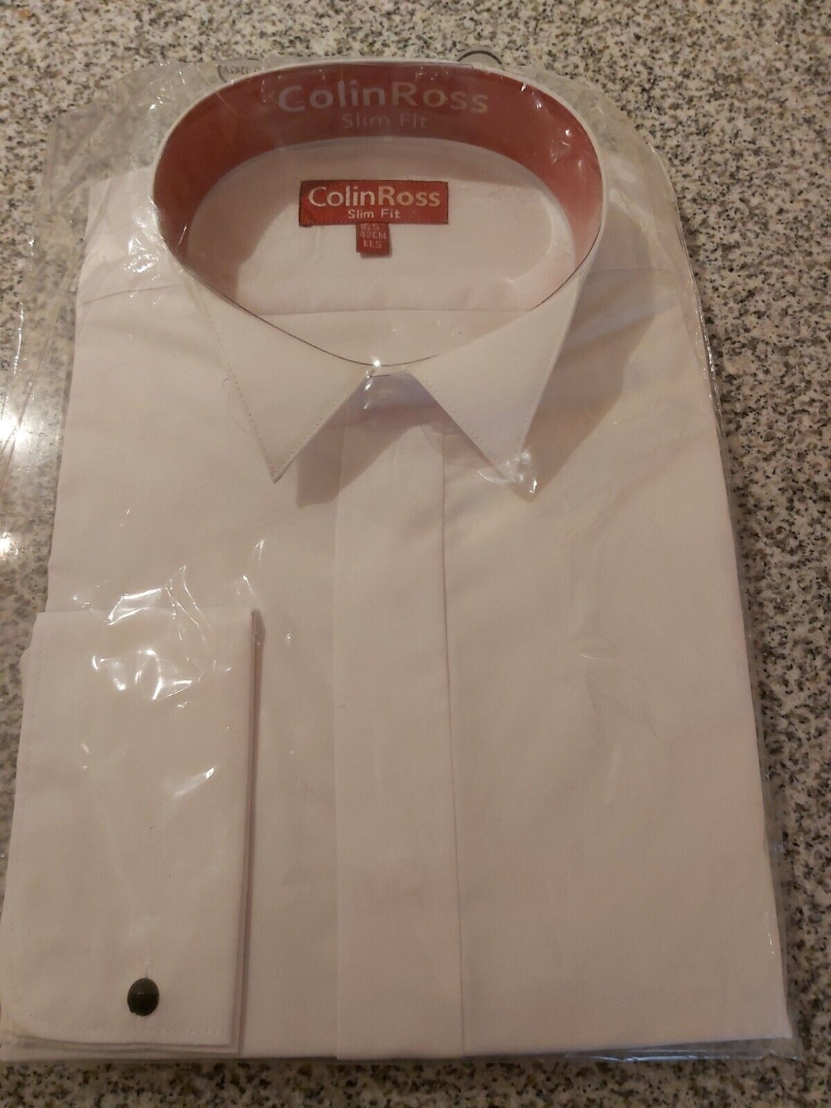 Mens Colin Ross White Wing Collar Formal Dress Double Cuff Size 16