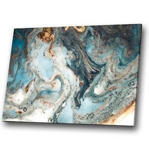 Blue Teal White Gold Marble Abstract Canvas Wall Art Large Picture Prints Ebay