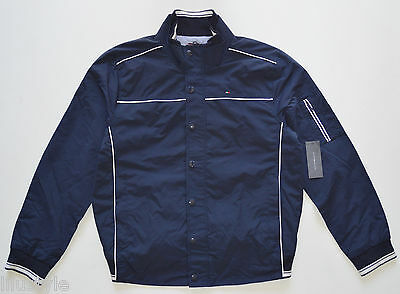 NWT TOMMY HILFIGER men's Jacket, Large, L, Navy Blue, Full Zip & Snaps