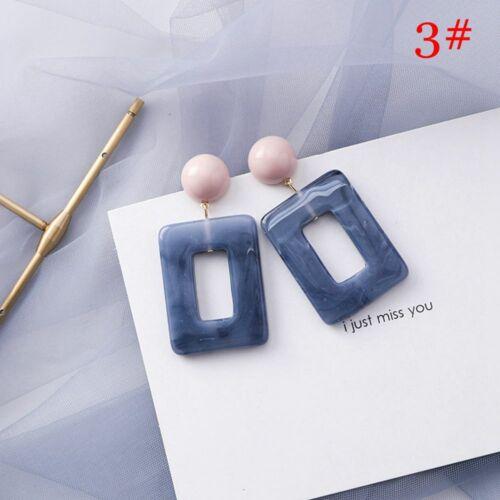 Women Party Jewelry Acrylic Earrings Dangle Drop Square//Flower Blue Ear Studs