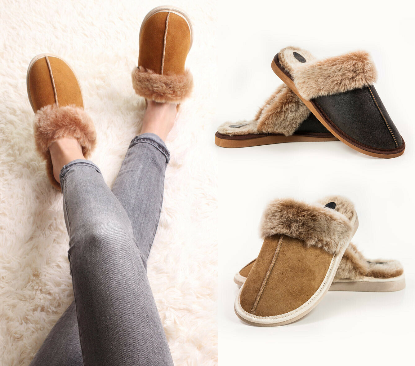 Hand crafted Men's Women's Genuine Sheepskin Mule Slippers, 100% Real Fur Lined