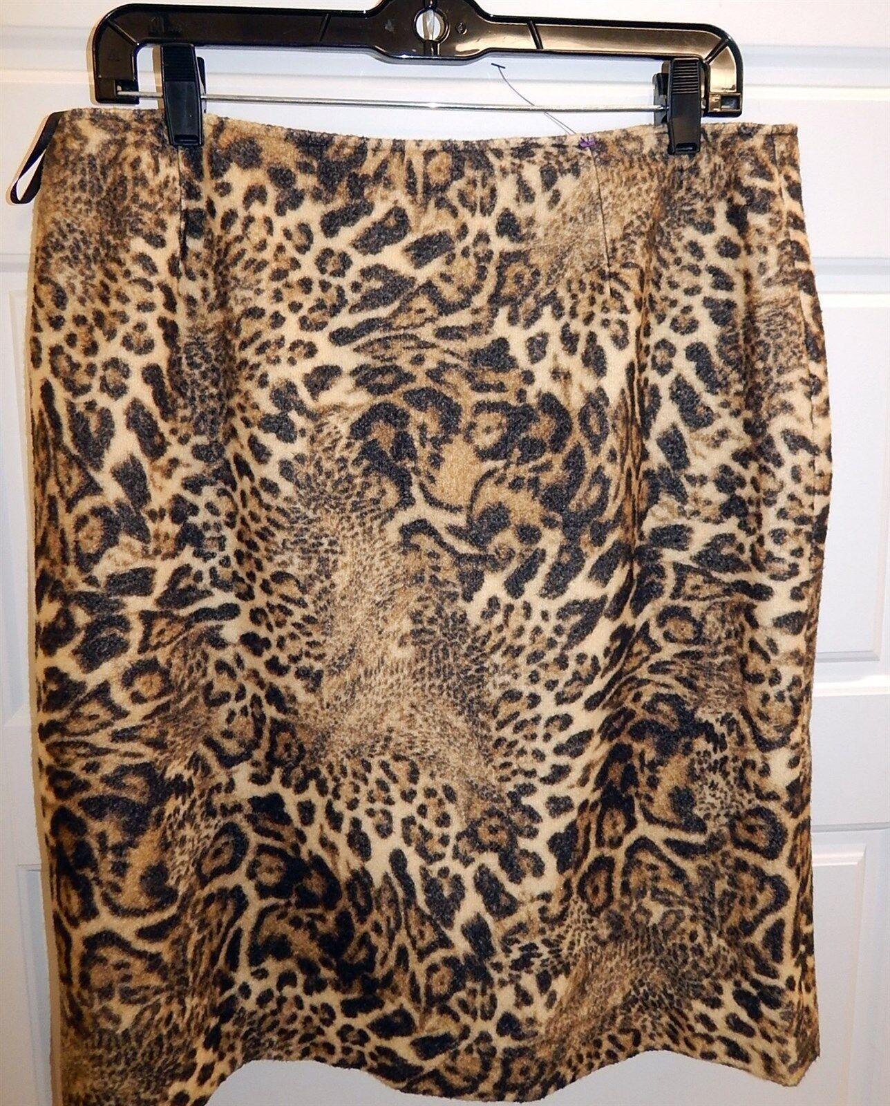 Lafayette 148 Cheetah Animal Print Leopard Wool Blend Skirt s 12