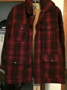 Men-s-Woolrich-100-Wool-Red-Black-Plaid-Lined-Hunting-Jacket-Size-42