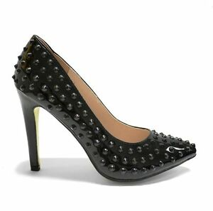 Ana-Lublin-Spiked-Platform-Heels-Patent-Leather-Shoes-Nero-Black-Size-40