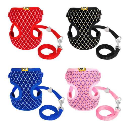 SOFT CAT WALKING HARNESS JACKET LEAD SET Breathable Puppy Step-in Harness Vest